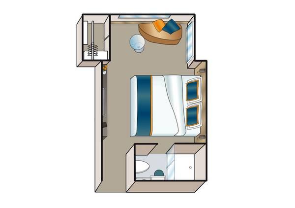 Kabine mit Aussichtsfenster - MS Amadeus Silver III - Kabine mit Aussichtsfenster C - MS Amadeus Silver III - Bild 2 - Grundriss Thumb