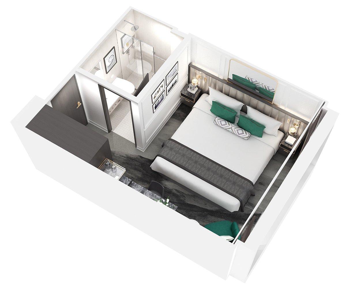 Petite Suite Kabine mit Panorama Balkonfenster  - Crystal Bach - Petite Suite Kabine mit Panorama Balkonfenster  S4 / S5 - Crystal Bach - Bild 2 - Grundriss Thumb