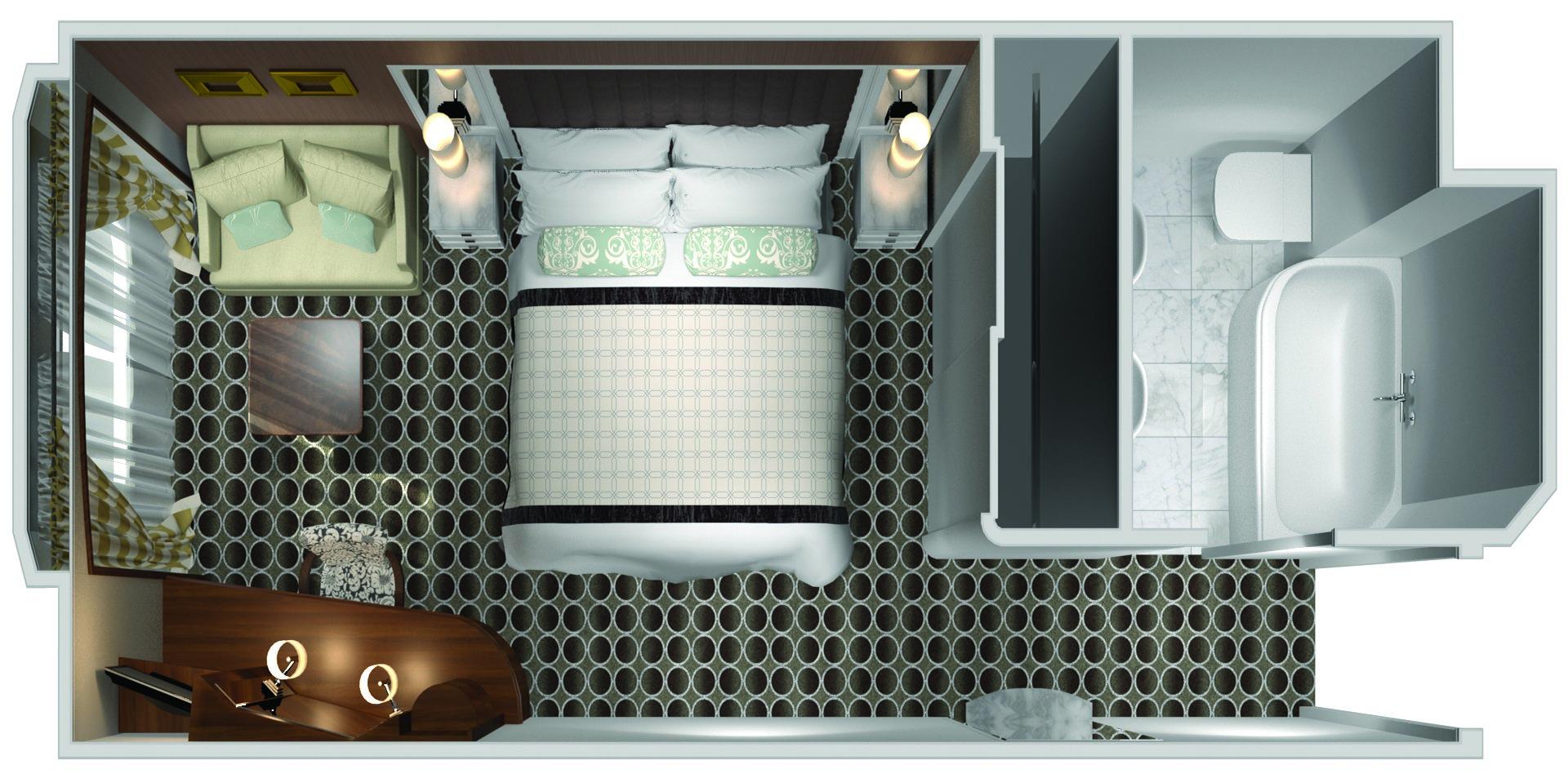 Deluxe Kabine mit Panoramafenster - Crystal Serenity - Deluxe Kabine mit Panoramafenster C1 / C2 / C3 - Crystal Serenity - Bild 3 - Grundriss Thumb