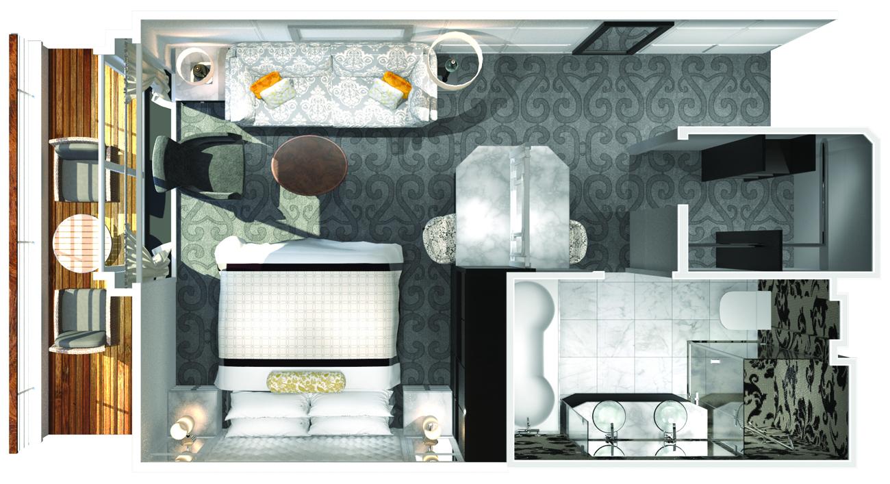 Penthouse Deck mit Veranda - Crystal Serenity - Penthouse Deck mit Veranda PH - Crystal Serenity - Bild 4 - Grundriss Thumb
