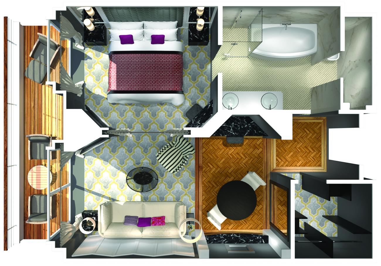 Penthouse Suite mit Veranda - Crystal Serenity - Penthouse Suite mit Veranda PS - Crystal Serenity - Bild 3 - Grundriss Thumb