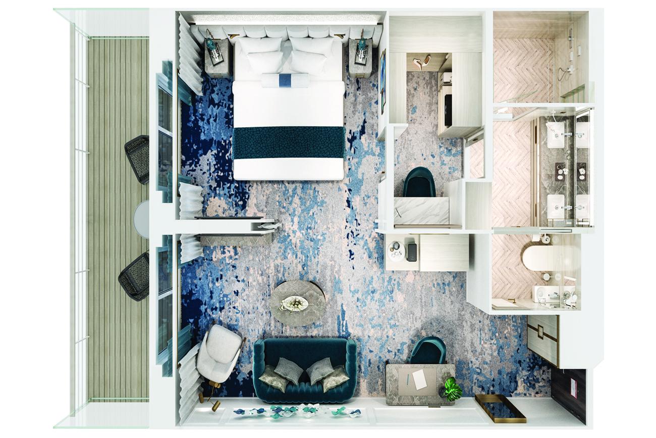 Seabreeze Penthouse Suite mit Veranda - Crystal Serenity - Seabreeze Penthouse Suite mit Veranda SP - Crystal Serenity - Bild 5 - Grundriss Thumb