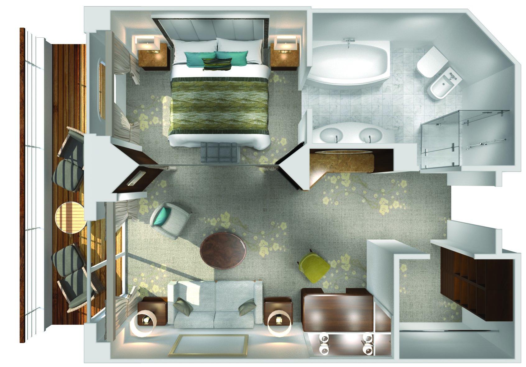 Penthouse Suite mit Veranda - Crystal Symphony - Penthouse Suite mit Veranda PS - Crystal Symphony - Bild 3 - Grundriss Thumb