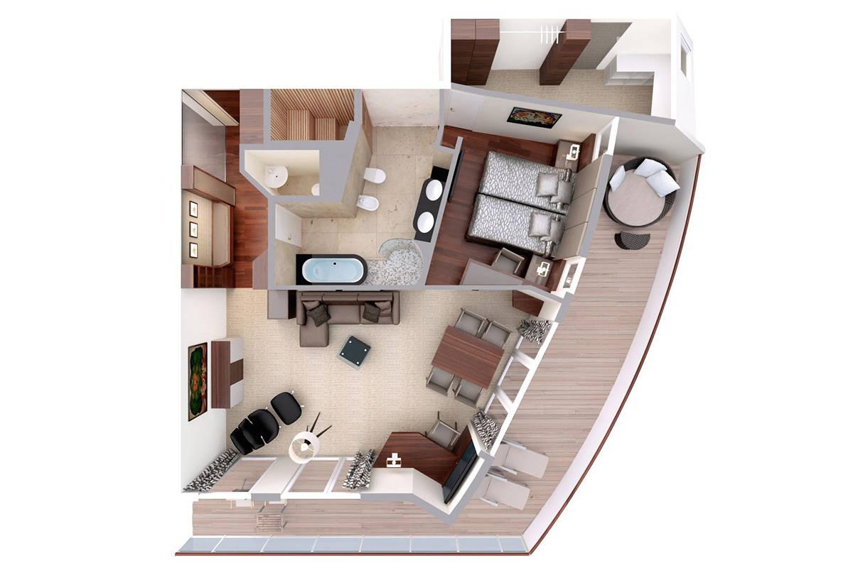 Penthouse Grand Suite - MS EUROPA - Penthouse Grand Suite 9 - MS EUROPA - Bild 6 - Grundriss Thumb