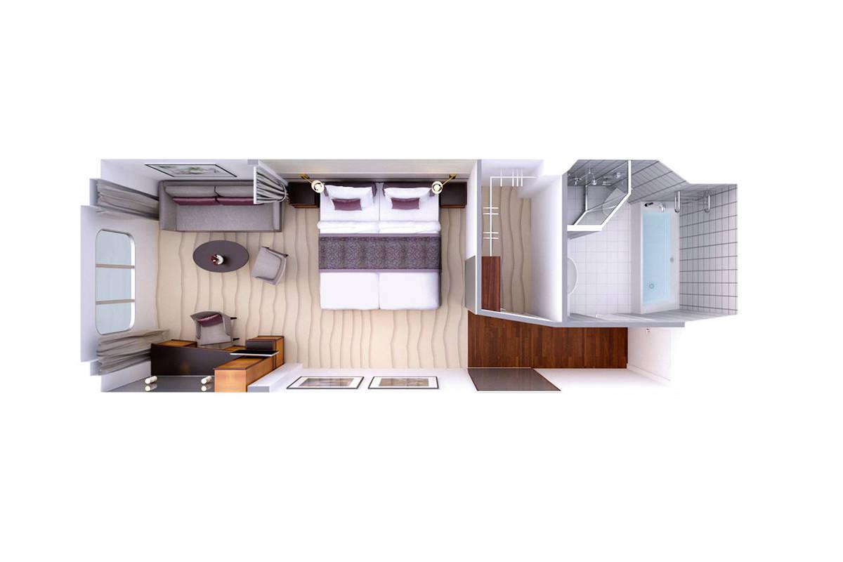 Suite mit Panoramafenster - MS EUROPA - Suite mit Panoramafenster 1 / 2 / 3 - MS EUROPA - Bild 2 - Grundriss Thumb