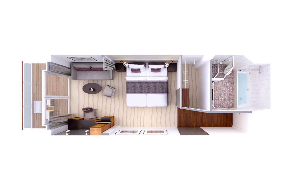 Veranda Suite - MS EUROPA - Veranda Suite 4 / 5 / 6 / 7 - MS EUROPA - Bild 4 - Grundriss Thumb