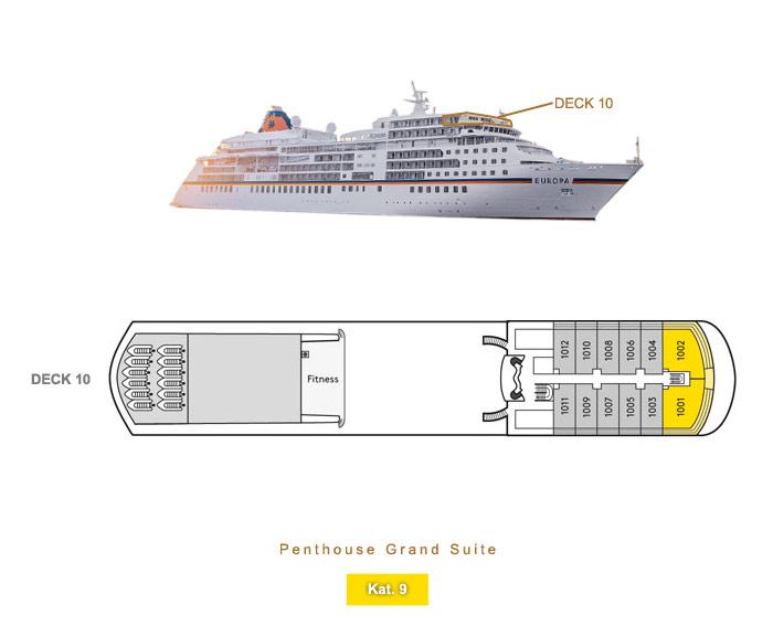 Penthouse Grand Suite 9 - MS EUROPA - Bild 6 - Lage Thumb