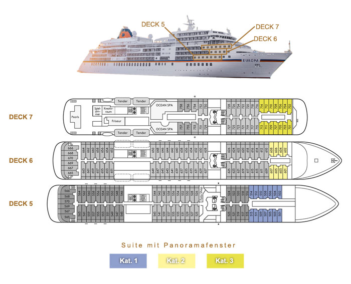 Suite mit Panoramafenster 1 / 2 / 3 - MS EUROPA - Bild 2 - Lage Thumb