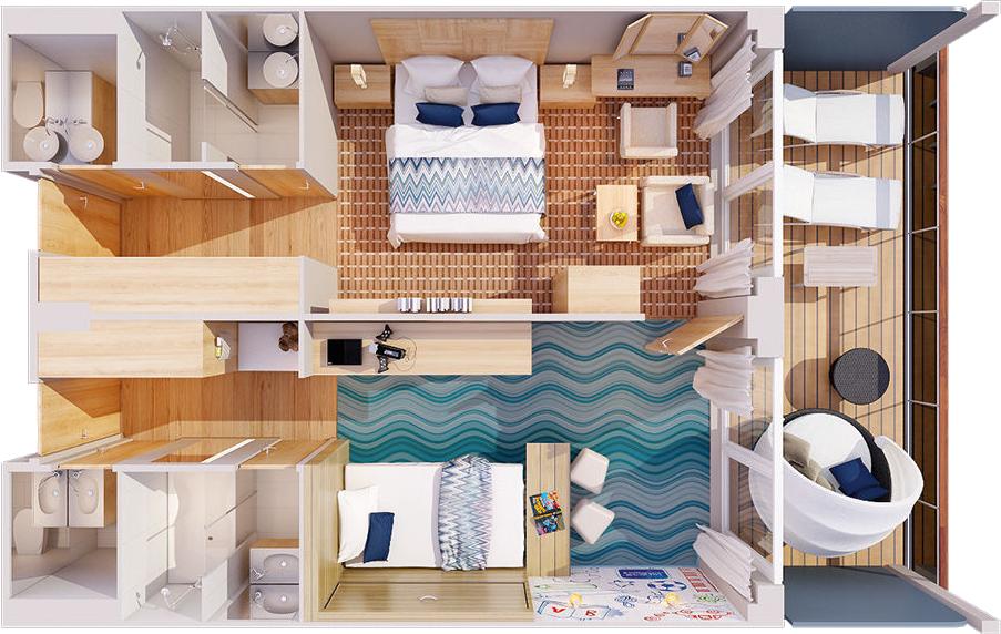 Familien Appartement - MS EUROPA 2 - Familien Appartement 12 - MS EUROPA 2 - Bild 4 - Grundriss Thumb