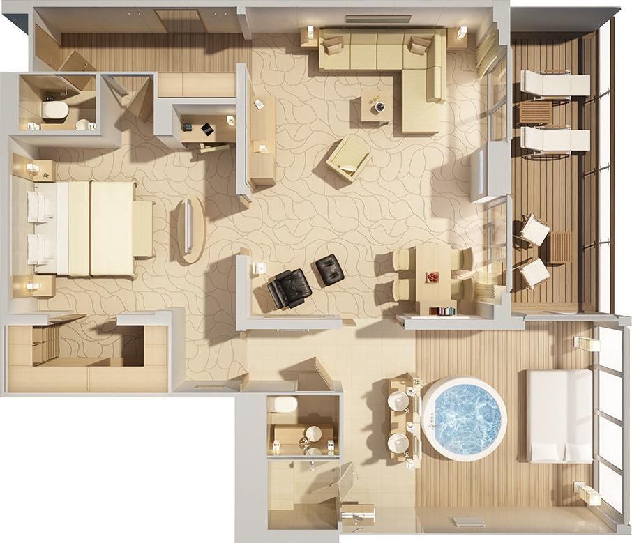Owner Suite - MS EUROPA 2 - Owner Suite 11 - MS EUROPA 2 - Bild 3 - Grundriss Thumb