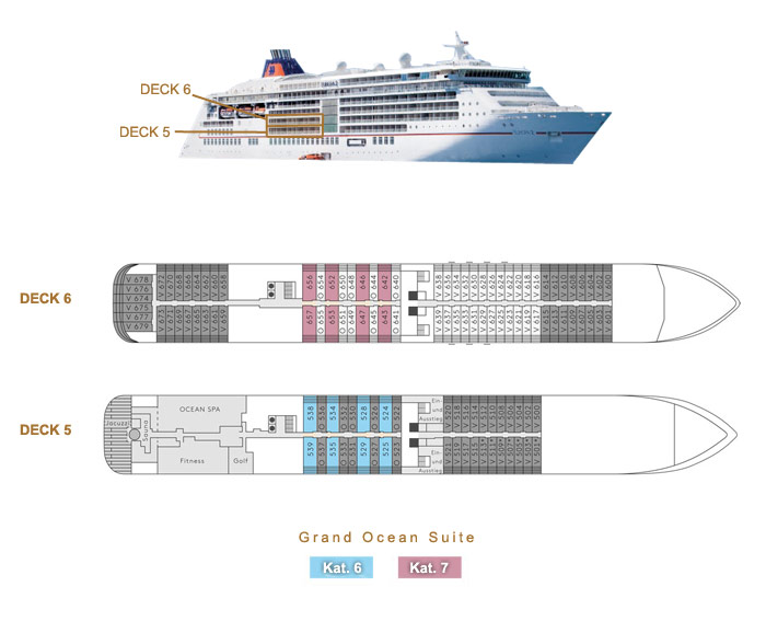 Grand Ocean Suite 6 / 7 - MS EUROPA 2 - Bild 2 - Lage Thumb