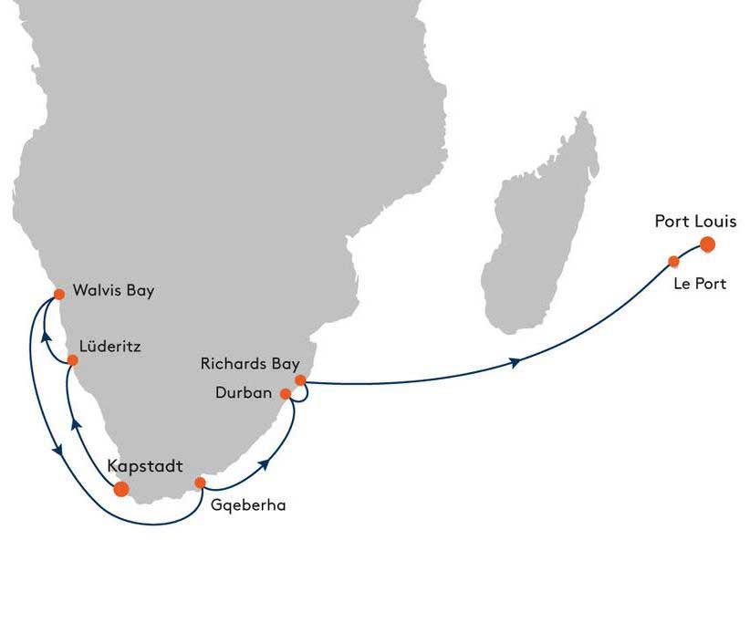 MS EUROPA EUR2123 Facettenreiches Afrika - Routenbild