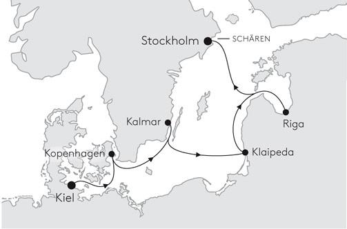 MS EUROPA EUR2141 von Kiel nach Stockholm - Routenbild
