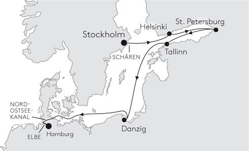 MS EUROPA EUR2142 von Stockholm nach Hamburg - Routenbild