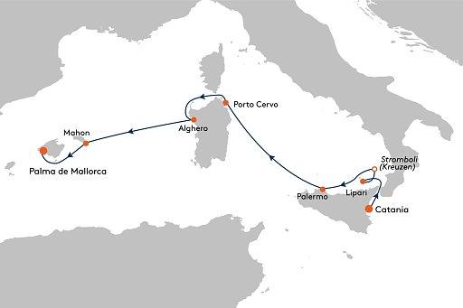 MS EUROPA 2 EUX2157 La Dolce Vita und Fiesta - Routenbild