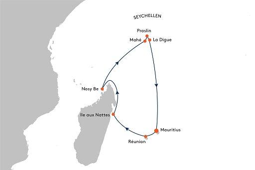 MS EUROPA 2 EUX2232 Traumziele im Indischen Ozean. - Routenbild