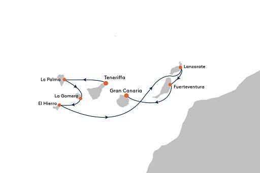 MS EUROPA 2 EUX2237 Vulkangestein und kanarischer Charme. - Routenbild