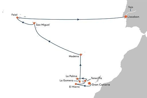 MS EUROPA 2 EUX2238 Vulkaninseln inmitten des Atlantischen Ozeans. - Routenbild