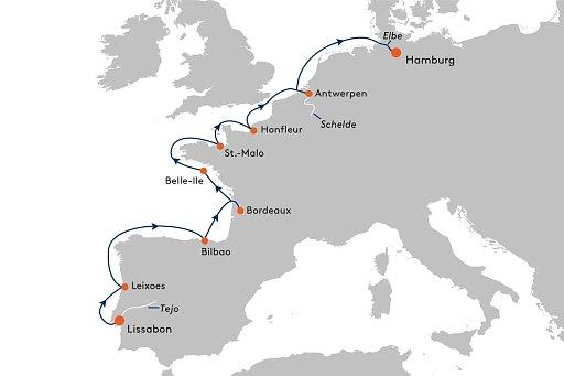 MS EUROPA 2 EUX2239 Westeuropa in seinen sch�nsten Facetten. - Routenbild