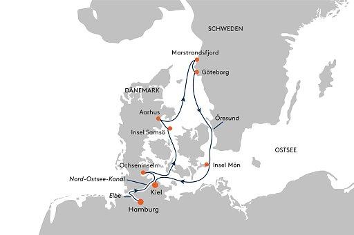 HANSEATIC inspiration INS2146 Expedition D�nemark und Schweden mit G�teborg - Routenbild