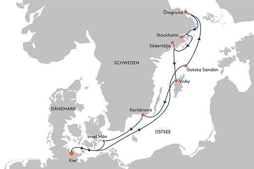 HANSEATIC inspiration INS2147 / INS2149 Expedition Schwedische Ostk�ste - Routenbild