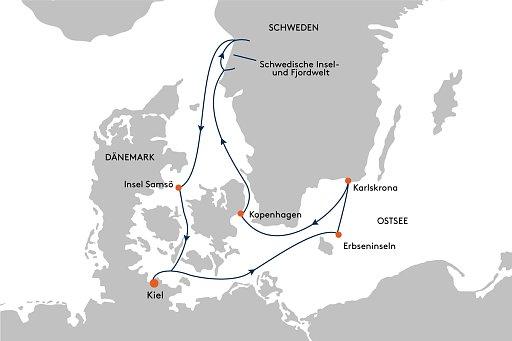 HANSEATIC inspiration INS2148 / INS2150 Expedition Schwedische Sch�ren mit Kopenhagen - Routenbild