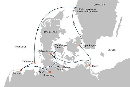 HANSEATIC inspiration INS2153 Expedition D�nemark, Schweden und Friesland - Routenbild