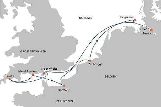 HANSEATIC inspiration INS2154 Kurzreise England, Frankreich und Belgien - Routenbild