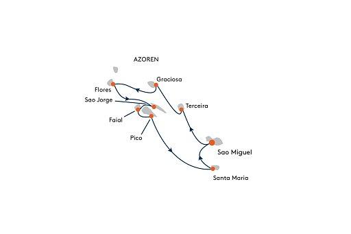 HANSEATIC inspiration INS2159 Expedition Azoren - Europas Garten Eden im Atlantik - Routenbild