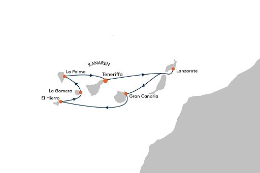 HANSEATIC inspiration INS2163 & INS2164 Kanaren - Sommerverl�ngerung mit Inselhopping im Atlantik - Routenbild