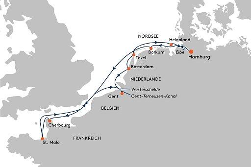 HANSEATIC spirit SPI2137 Neuland ganz nah: Frankreich, Belgien und Friesland (von/bis Hamburg) - Routenbild