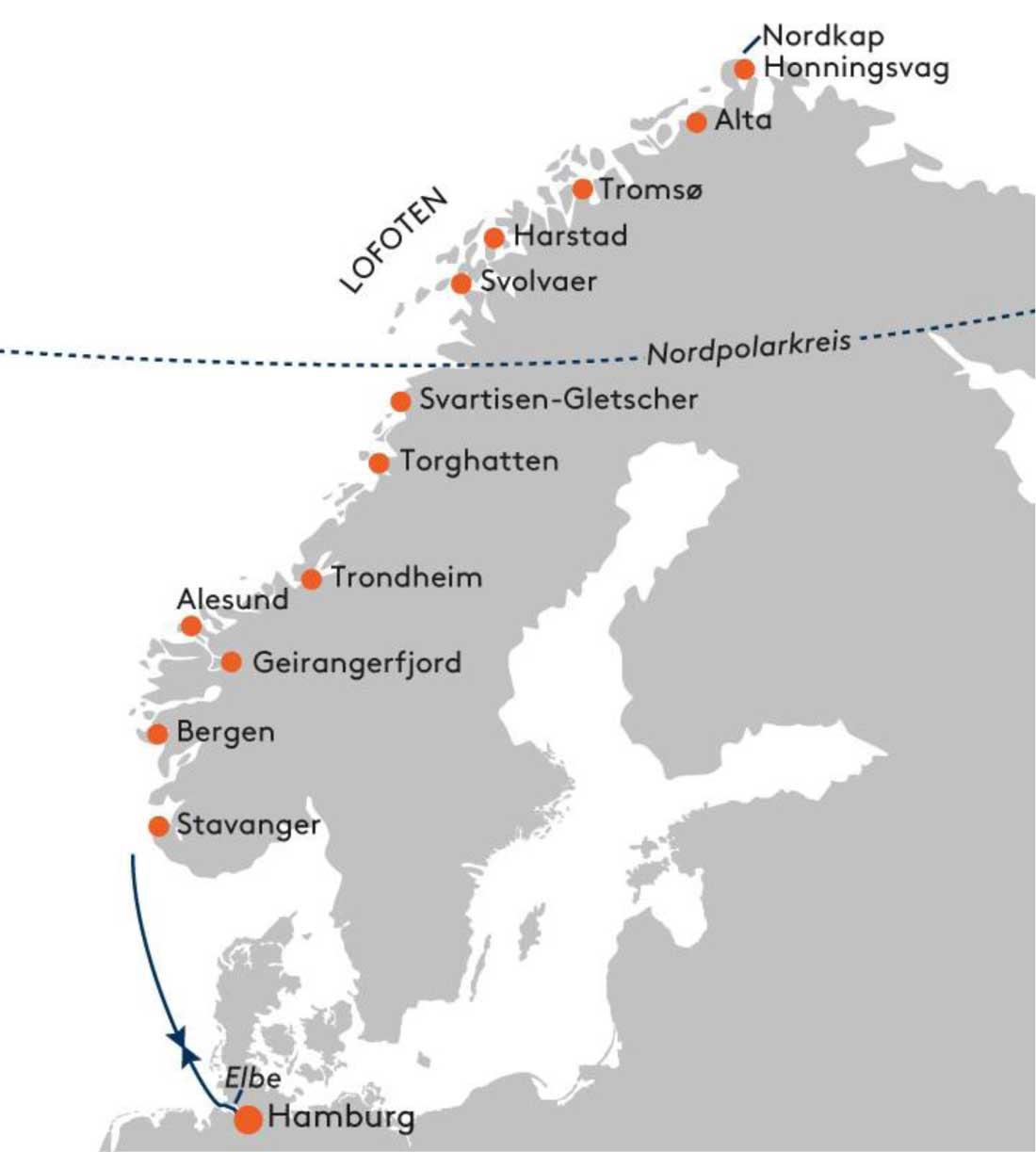 HANSEATIC spirit SPI2139 Polarlicht-Abenteuer Norwegen - Routenbild