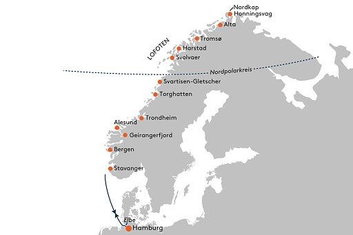 HANSEATIC spirit SPI2140-SPI2141 Polarlicht-Abenteuer Norwegen - Routenbild