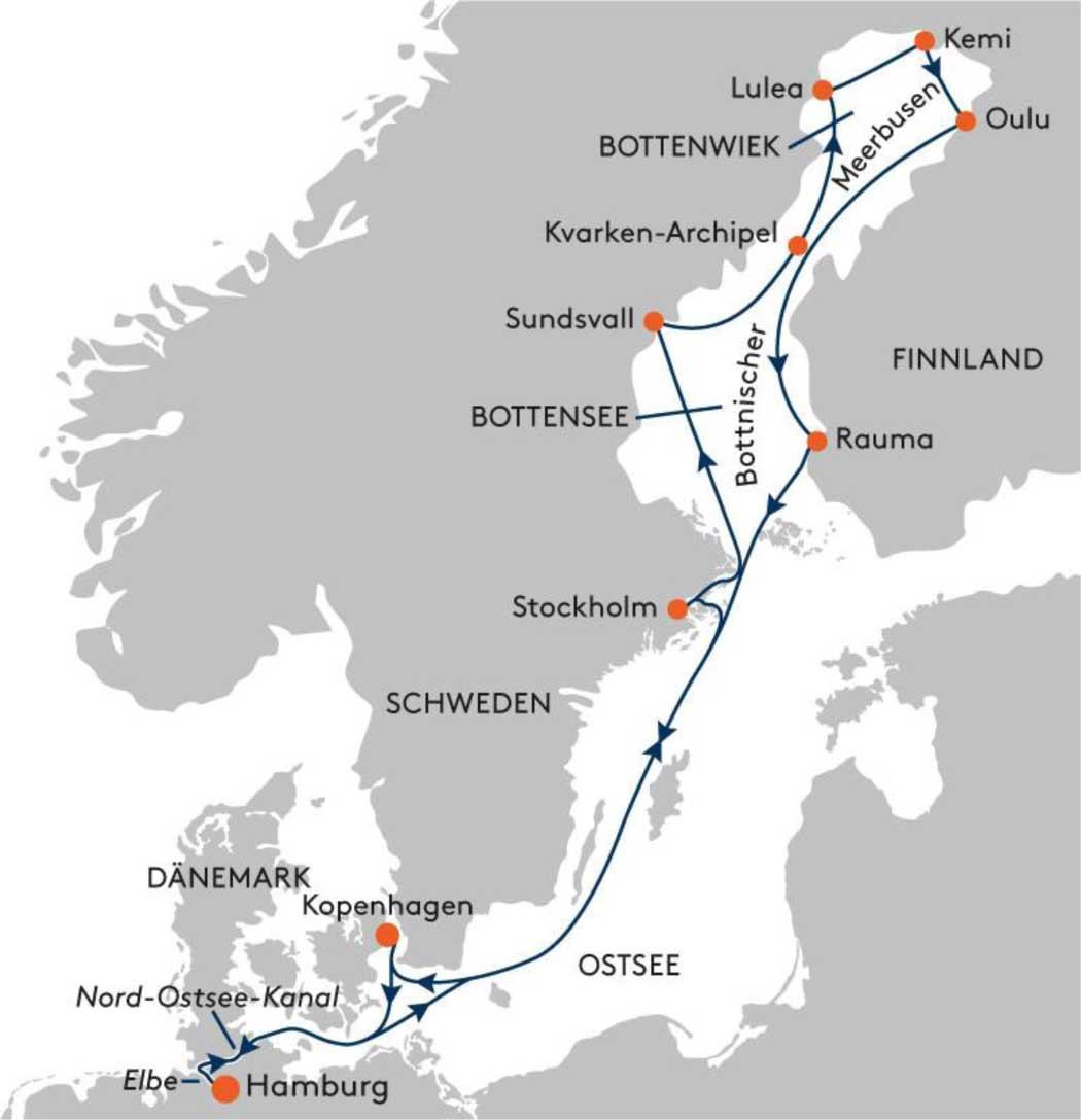 HANSEATIC spirit SPI2233 Winter-Abenteuer Lappland - Routenbild