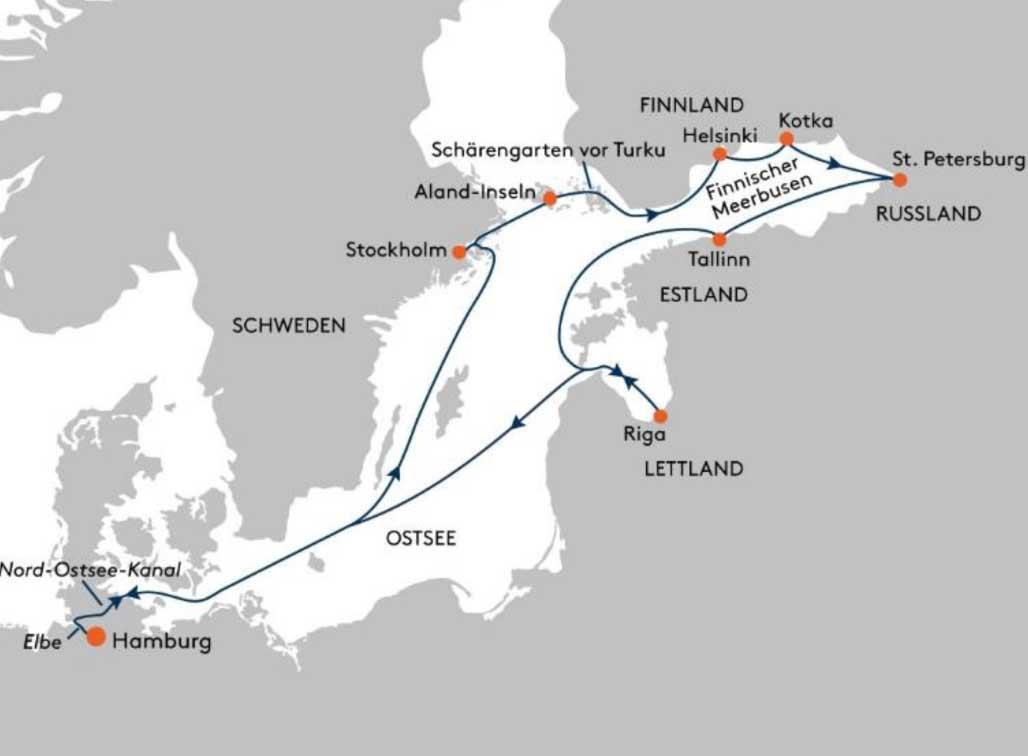 HANSEATIC spirit SPI2234 Winter-Abenteuer Baltikum - Routenbild