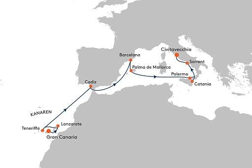 MS EUROPA 2 EUX2181 Pittoreskes Spanien und zauberhaftes Italien. - Routenbild