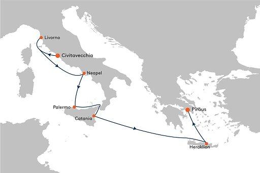MS EUROPA 2 EUX2182 Auf den Spuren r�mischer und griechischer Geschichte. - Routenbild