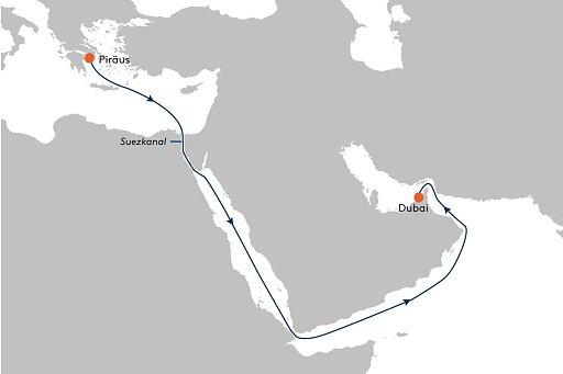 MS EUROPA 2 EUX2183 Erholung pur zwischen Pir�us und Dubai. - Routenbild
