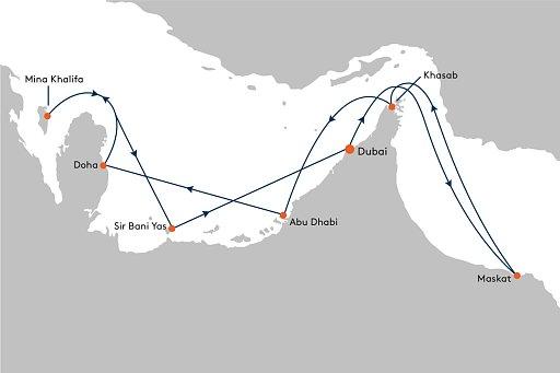 MS EUROPA 2 EUX2184 Golf & Cruise Angebot - ab/bis Dubai - Routenbild