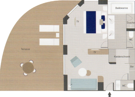 Grand Deluxe Suite - Le Dumont d´Urville - Grand Deluxe Suite GD5 / GD6 - Le Dumont d´Urville - Bild 2 - Grundriss Thumb