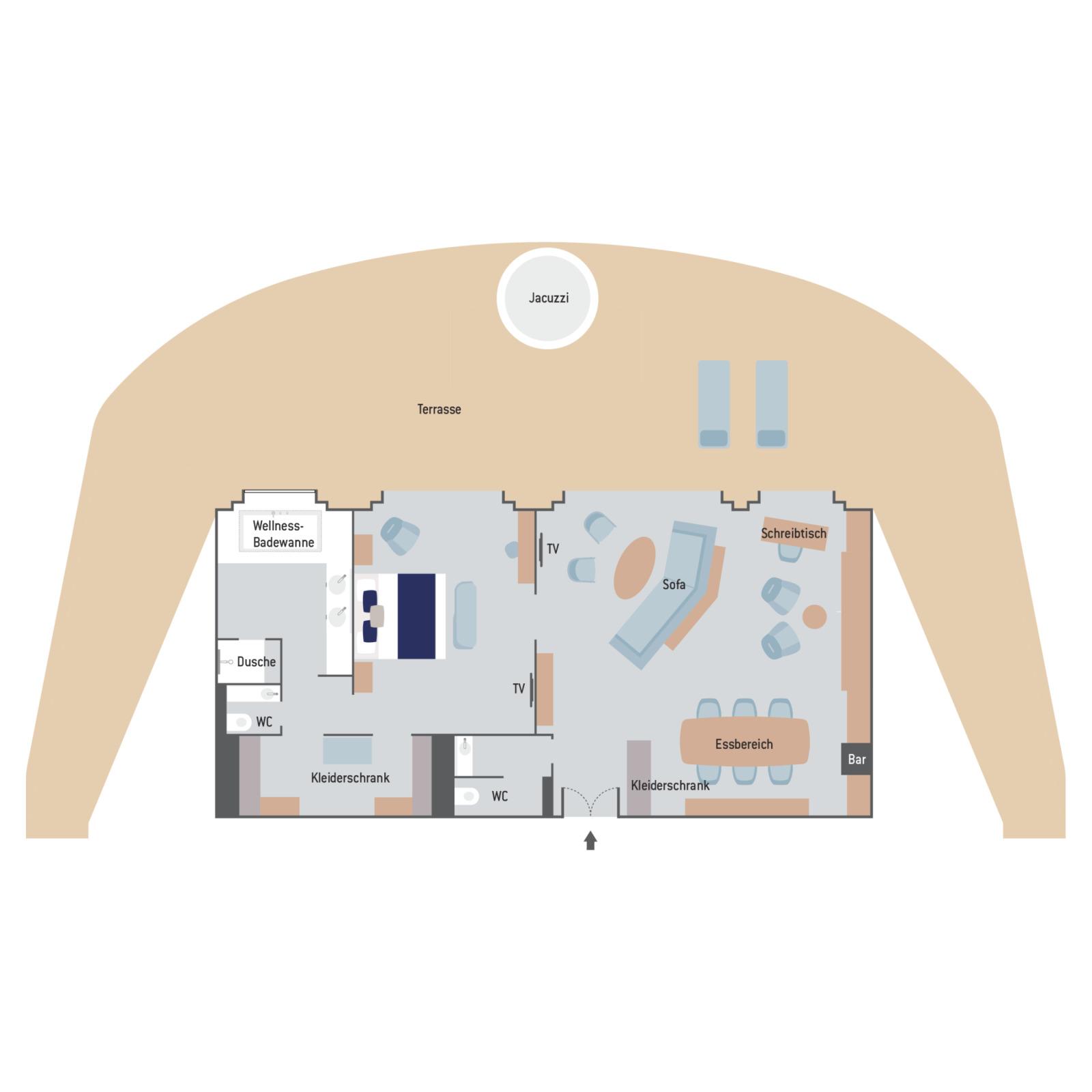 Owner's Suite - Le Commandant Charcot - Owner's Suite SA - Le Commandant Charcot - Bild 2 - Grundriss Thumb