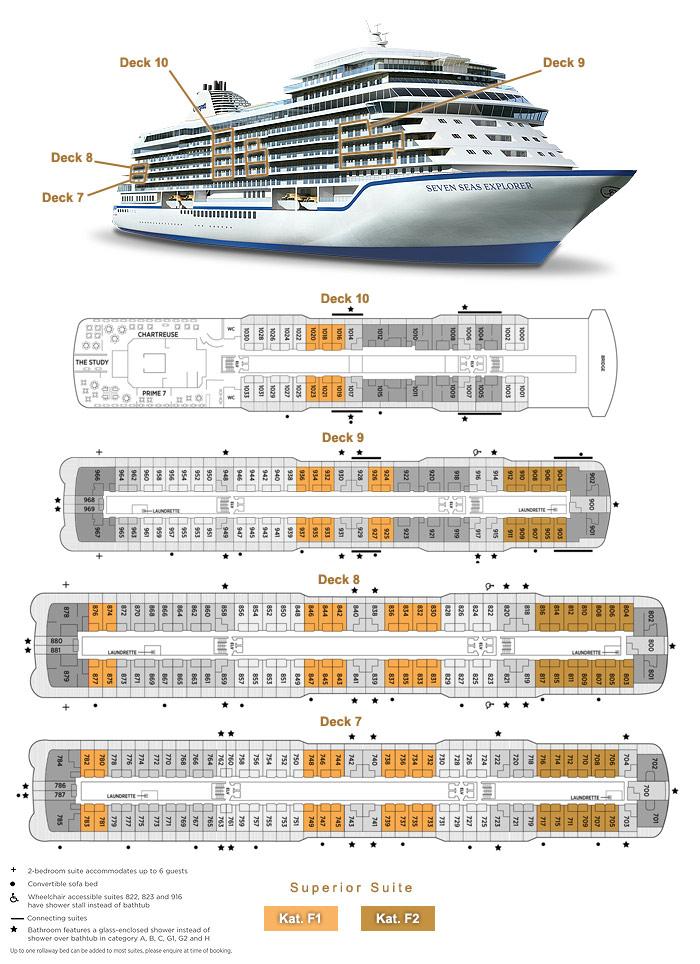 Superior Suite F1 / F2 - Seven Seas Explorer - Bild 2 - Lage Thumb