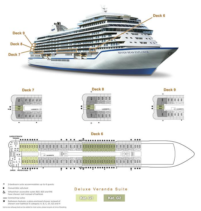 Deluxe Veranda Suite G1 / G2 - Seven Seas Explorer - Bild 3 - Lage Thumb