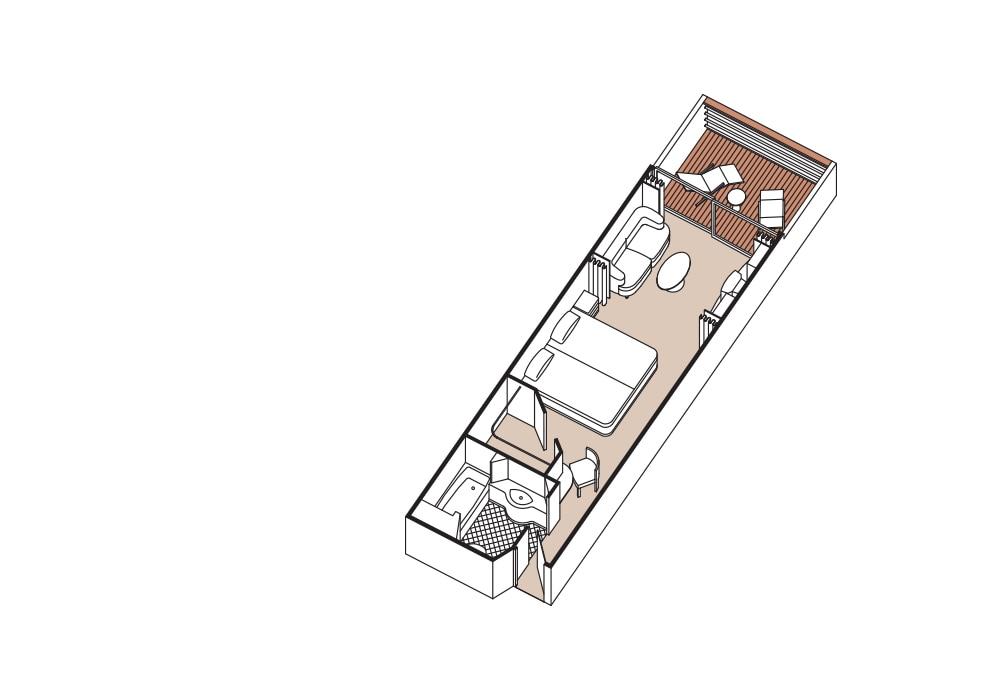 Deluxe Veranda SuiteKat F / G / H - Seven Seas Mariner Übersicht