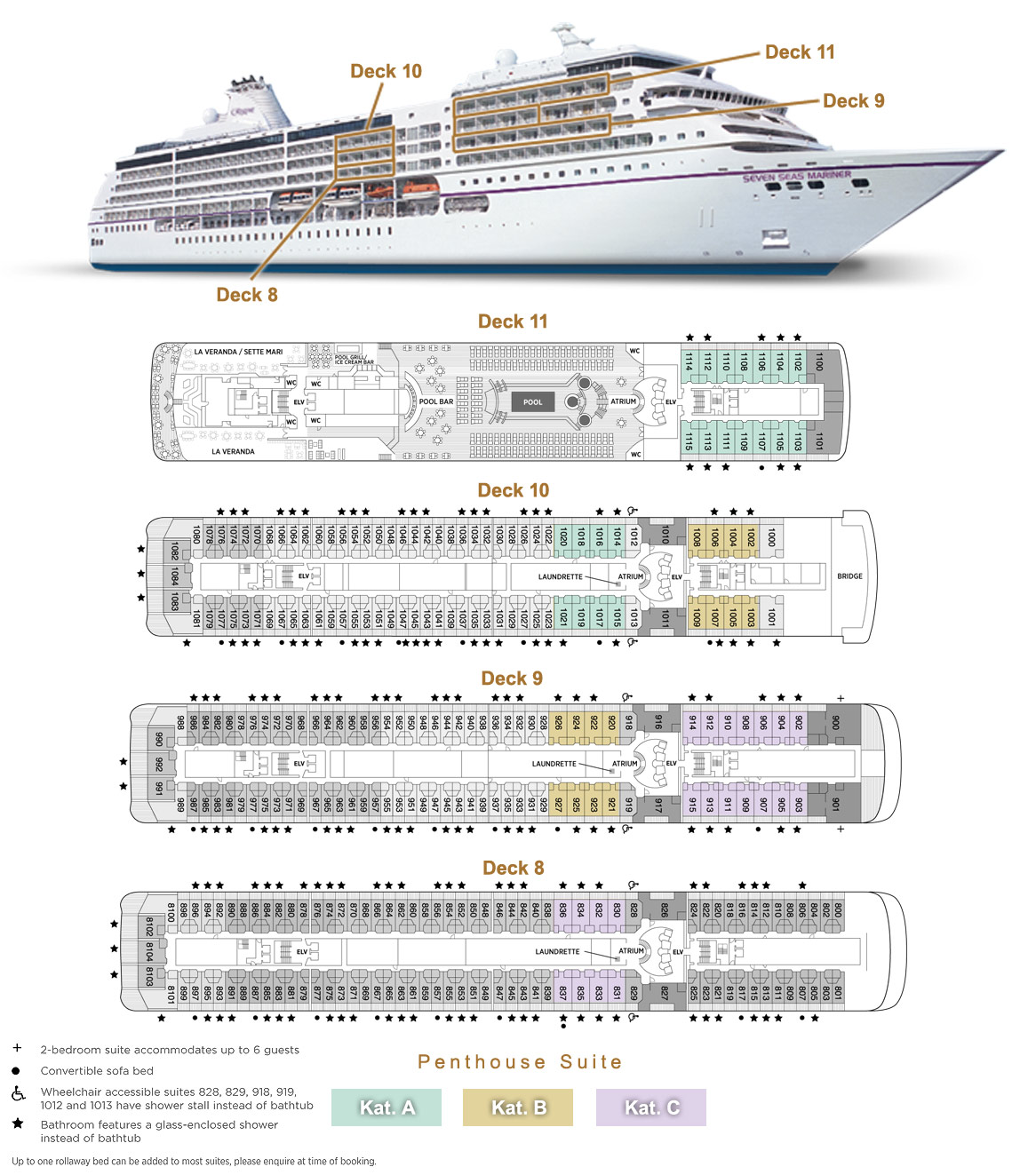 Penthouse Suite A / B / C - Seven Seas Mariner - Bild 4 - Lage Thumb