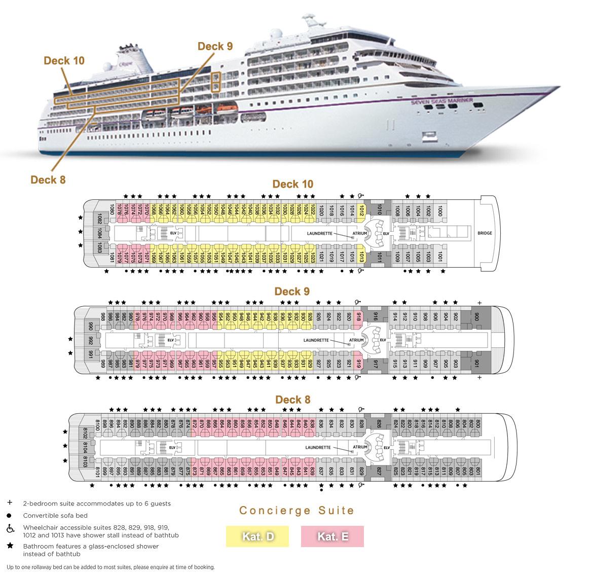 Concierge Suite D / E - Seven Seas Mariner - Bild 2 - Lage Thumb