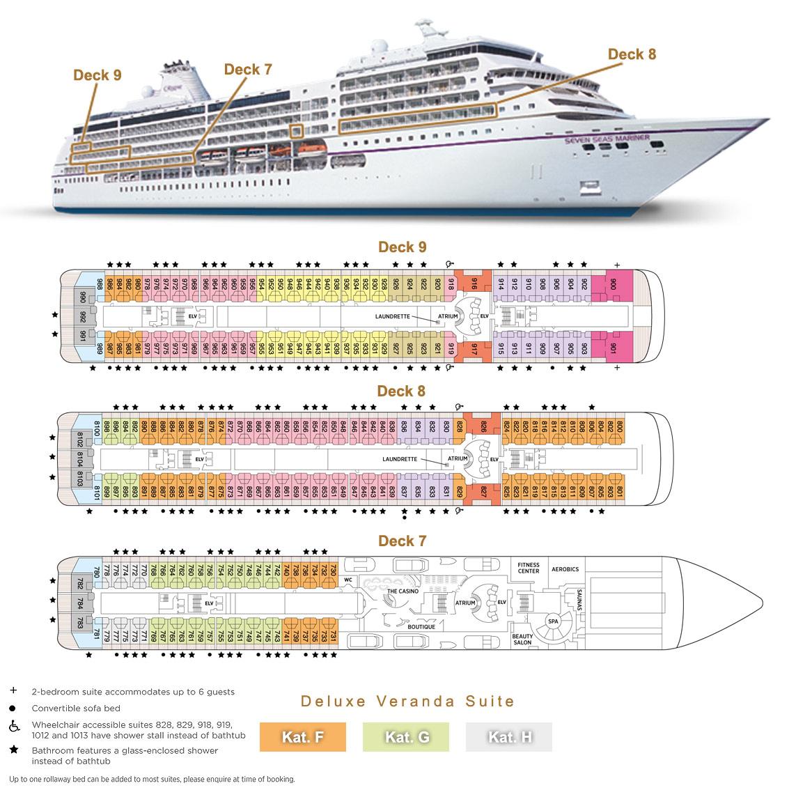 Deluxe Veranda Suite F / G / H - Seven Seas Mariner - Bild 2 - Lage Thumb