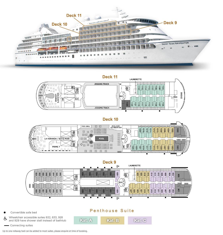 Penthouse Suite A / B / C - Seven Seas Navigator - Bild 3 - Lage Thumb