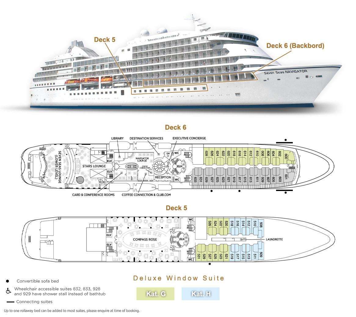 Deluxe Window Suite G / H - Seven Seas Navigator - Bild 3 - Lage Thumb