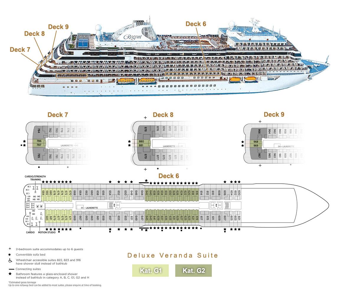Deluxe Veranda Suite G1 / G2 - Seven Seas Splendor - Bild 4 - Lage Thumb